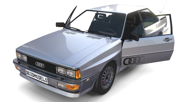 1981 Audi Coupe Quattro with interior Silver - 3DOcean Item for Sale