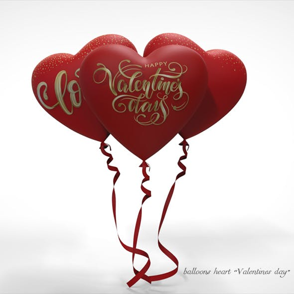 "Heart balloons ""valentines day"" - 3DOcean Item for Sale"