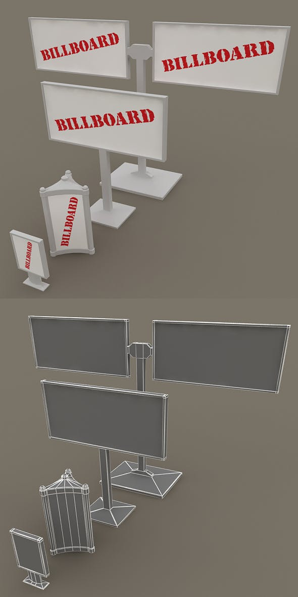 Low-poly Billboards - 3DOcean Item for Sale