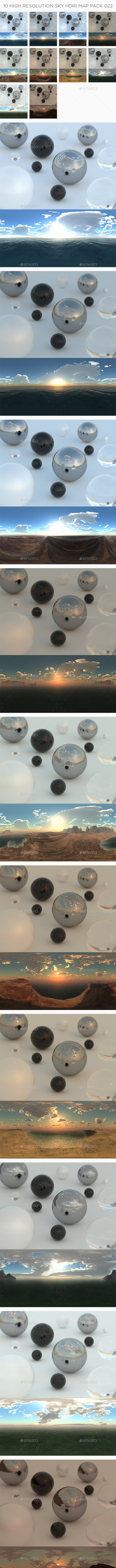 10 High Resolution Sky HDRi Maps Pack 022 - 3DOcean Item for Sale