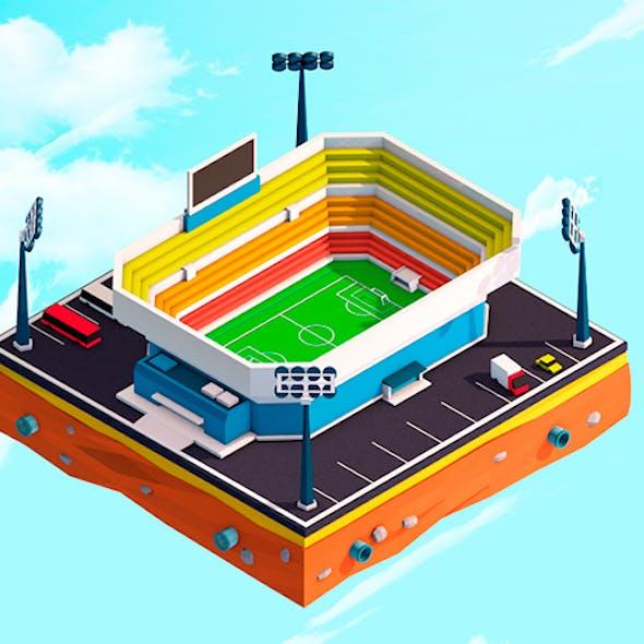 Cartoon Low Poly City Stadium