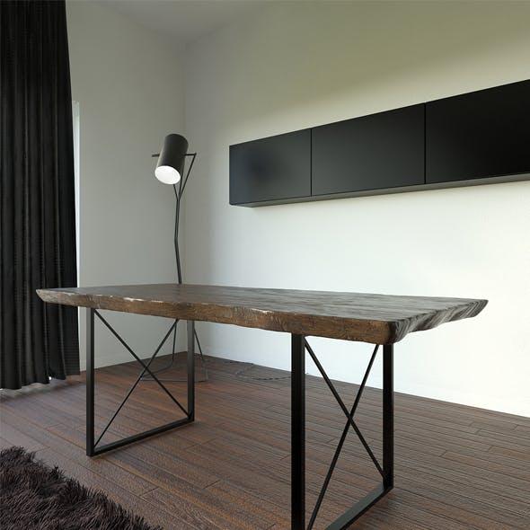 Wooden Slab Dinner Table - 3DOcean Item for Sale