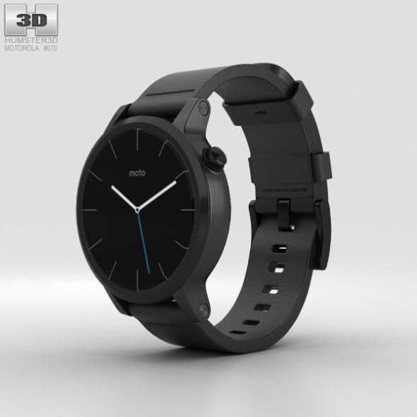 Motorola Moto 360 2nd Gen Men's 42mm Black Case Black Leather Band - 3DOcean Item for Sale