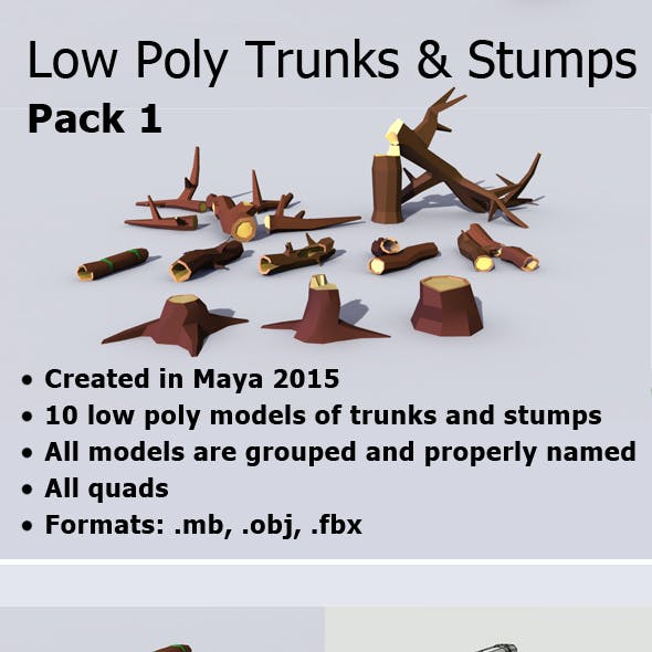 Low Poly Trunks & Stumps Pack