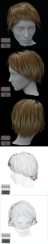Short Hair Female 3D model - 3DOcean Item for Sale
