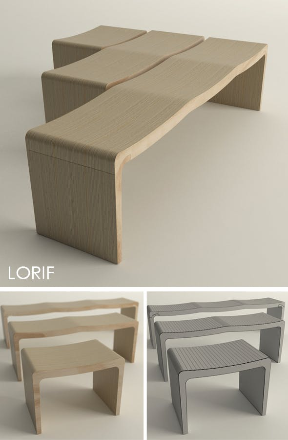 Punkalive Retretti bench set - 3DOcean Item for Sale
