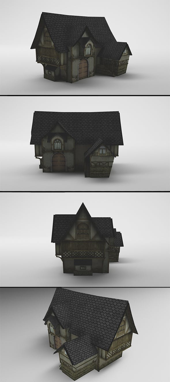 Low-Poly Medieval House - 3DOcean Item for Sale