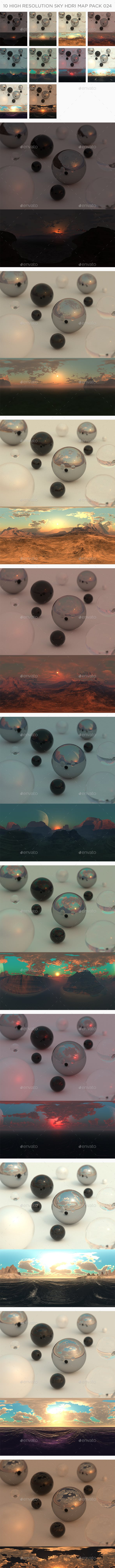 10 High Resolution Sky HDRi Maps Pack 024 - 3DOcean Item for Sale