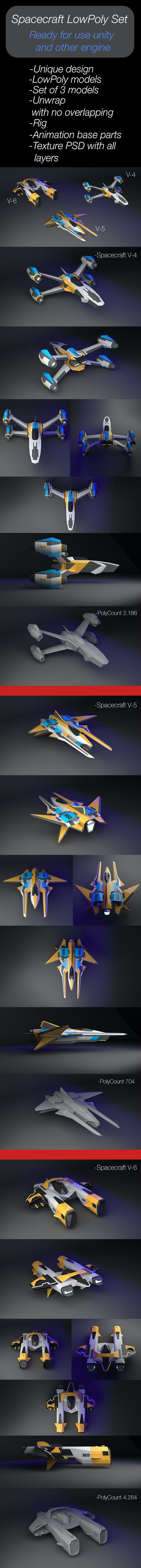 Spacecraft LowPoly Set of 3 models - 3DOcean Item for Sale