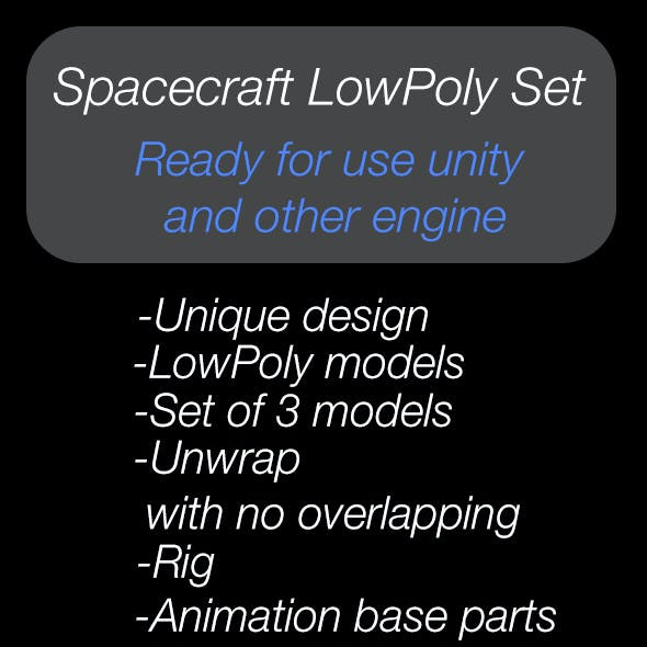 Spacecraft LowPoly Set of 3 models