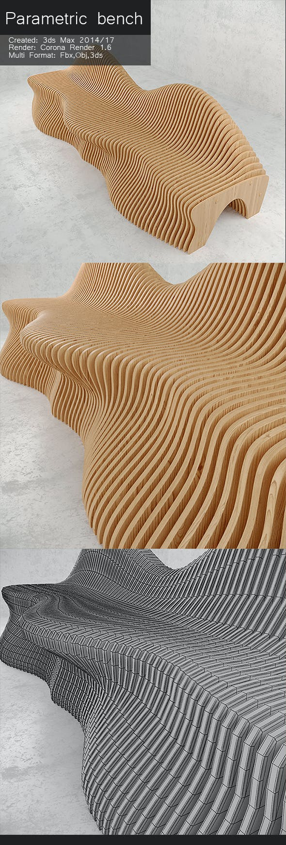 Parametric bench - 3DOcean Item for Sale