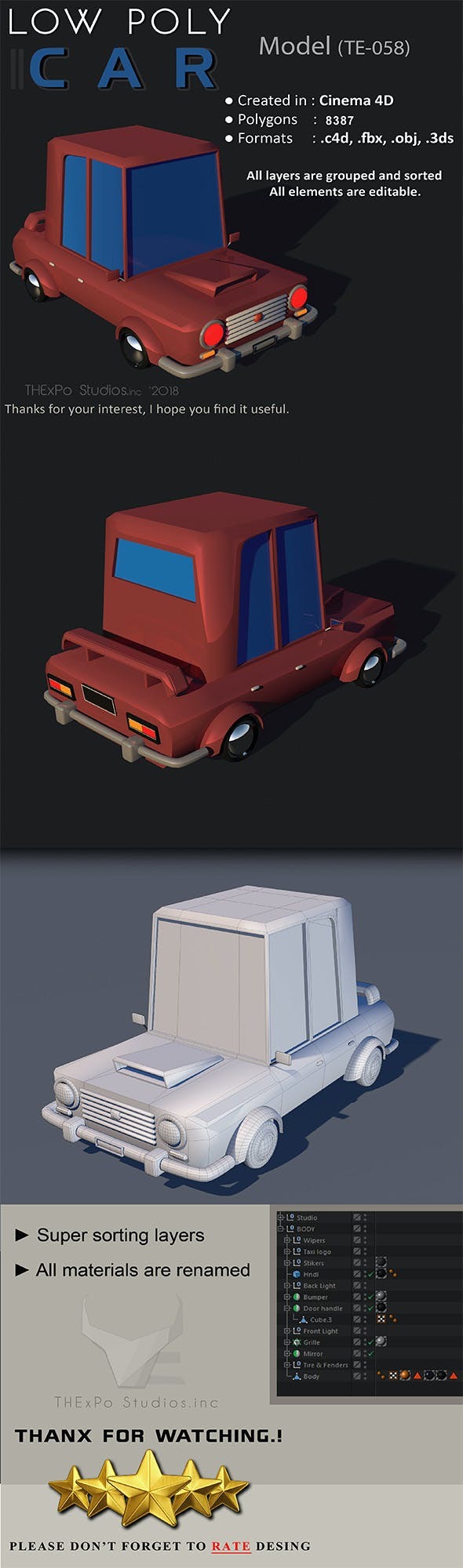 Low poly car || model TE-058 - 3DOcean Item for Sale