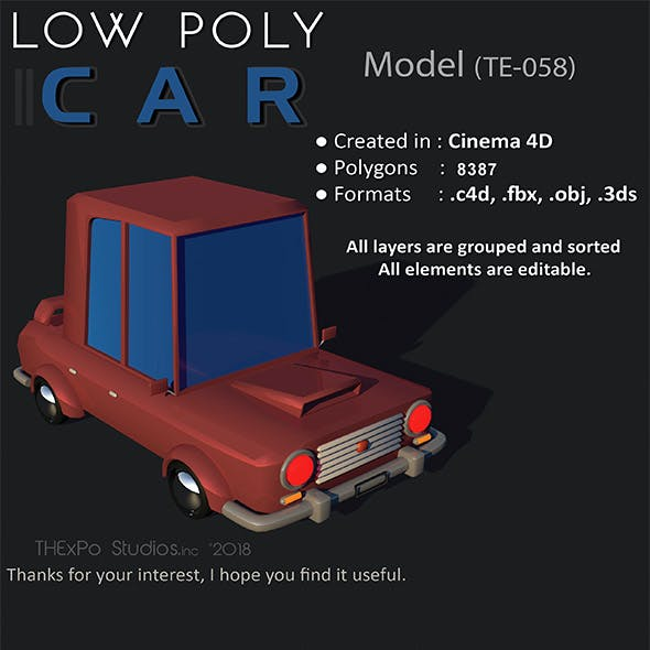 Low poly car || model TE-058