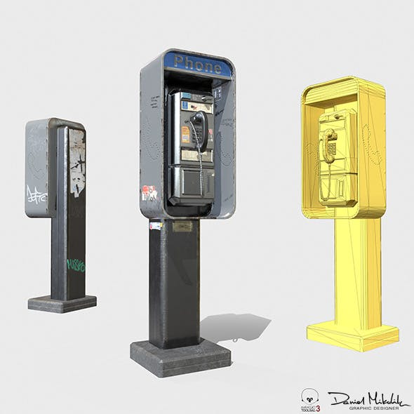 New York Payphone Booth PBR - 3DOcean Item for Sale