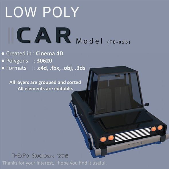 Low Poly Car || Model TE-055