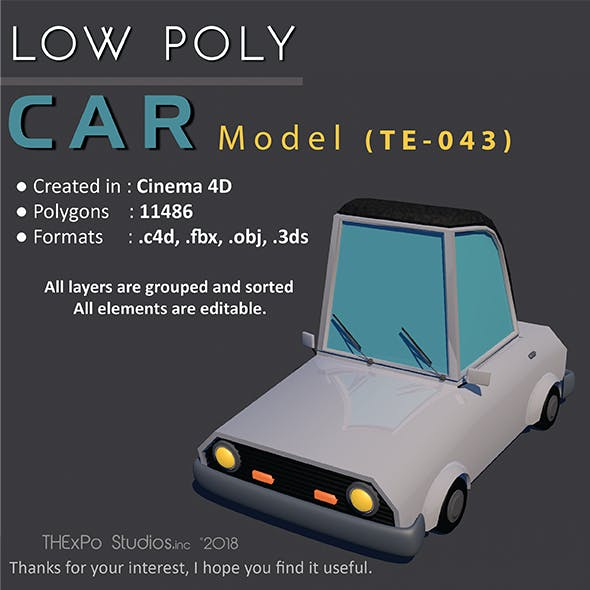 Low Poly Car || Model TE-043