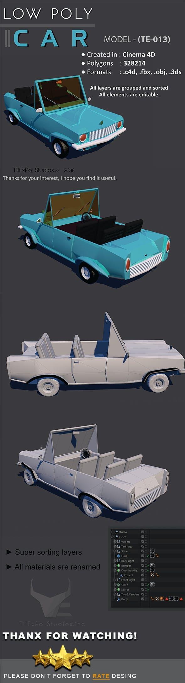 Low Poly Car || Model TE-013 - 3DOcean Item for Sale