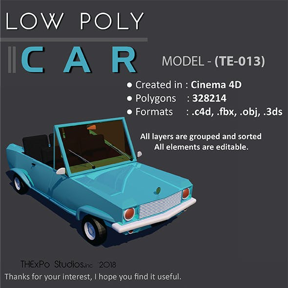 Low Poly Car || Model TE-013