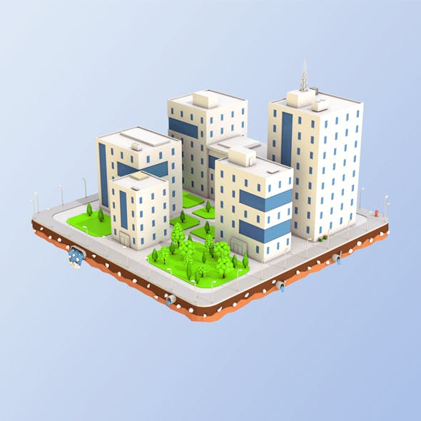 Low Poly City Block Office Buildings - 3DOcean Item for Sale