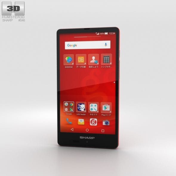 Sharp Aquos SH-M02 Red - 3DOcean Item for Sale