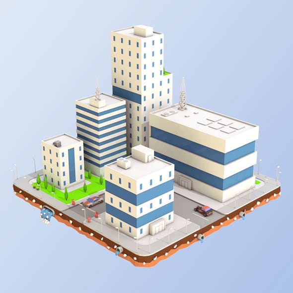 Low Poly City Block Factory Buildings