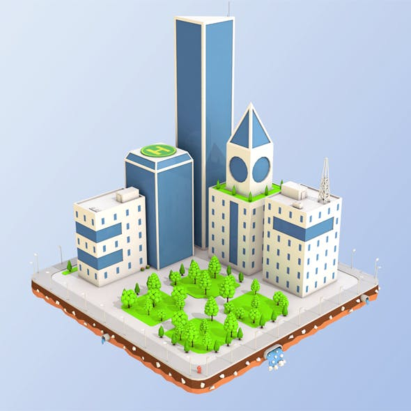 Low Poly City Block Skyscraper Buildings - 3DOcean Item for Sale