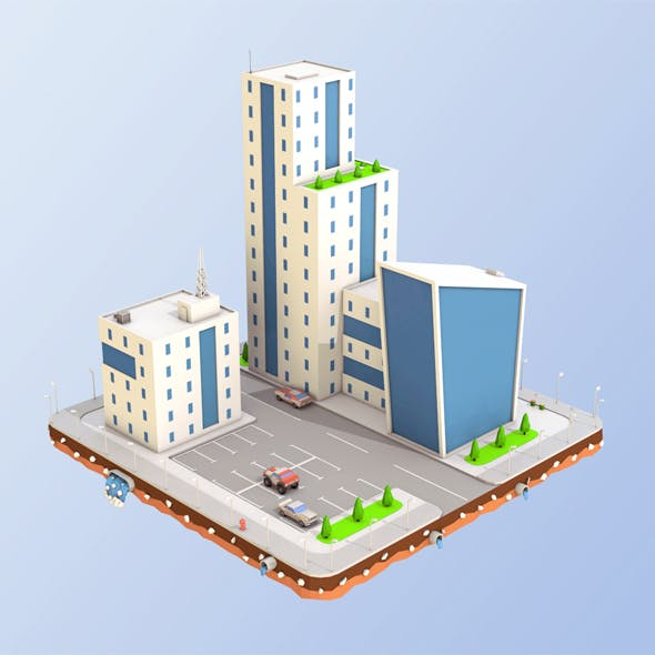 Low Poly City Buildings - 3DOcean Item for Sale