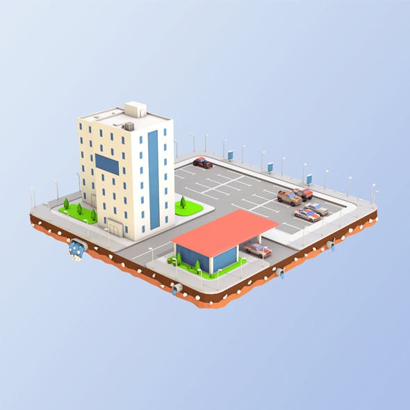 Low Poly Car Service Building - 3DOcean Item for Sale