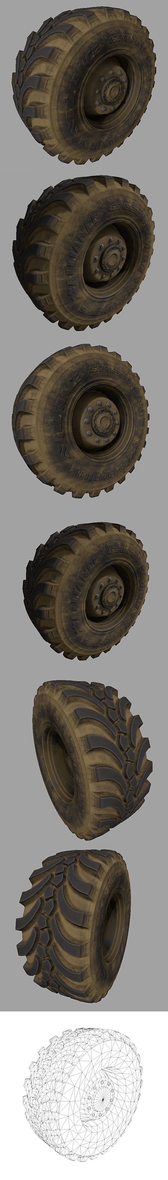 Wheel-tire with Full Textures - 3DOcean Item for Sale