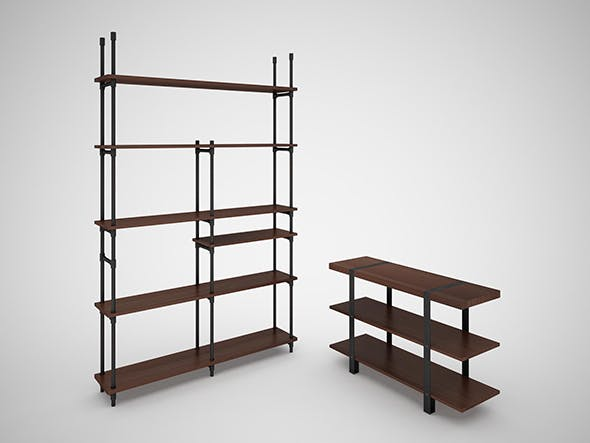 Industrial Steel Pipe Shelves And Marley Sofa Table By Rigel46 3docean