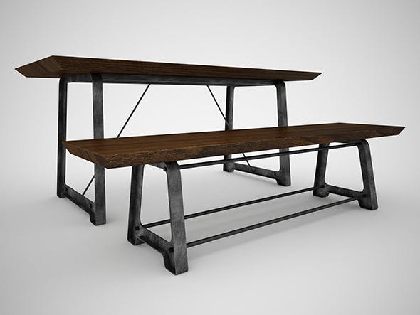 Mead Dining Table and Bench - 3DOcean Item for Sale