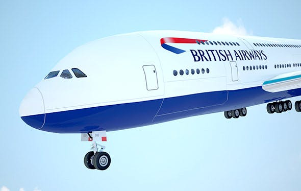 A-380 Giant aircraft British Airways low poly - 3DOcean Item for Sale