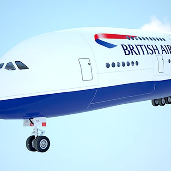 A-380 Giant aircraft British Airways low poly
