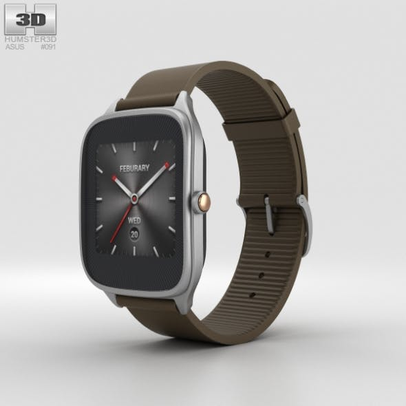 Asus Zenwatch 2 1.63-inch Silver Case Brown Rubber Band - 3DOcean Item for Sale