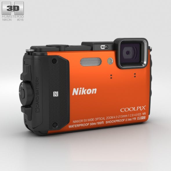 Nikon Coolpix AW130 Orange - 3DOcean Item for Sale