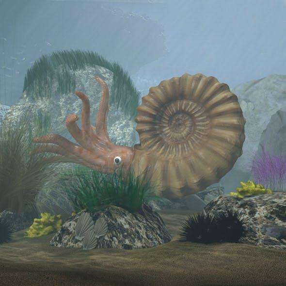 Ammonite with complete underwater scene