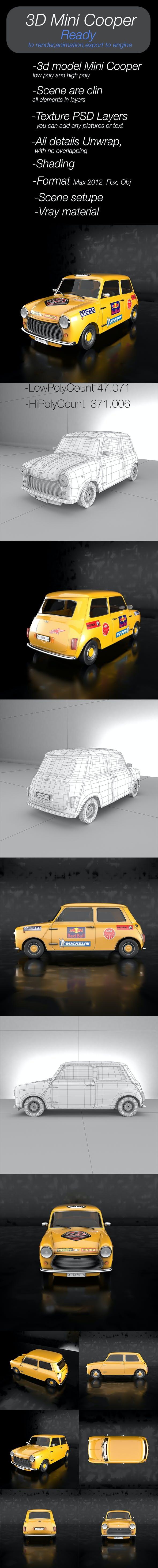 3D model Mini Cooper - 3DOcean Item for Sale