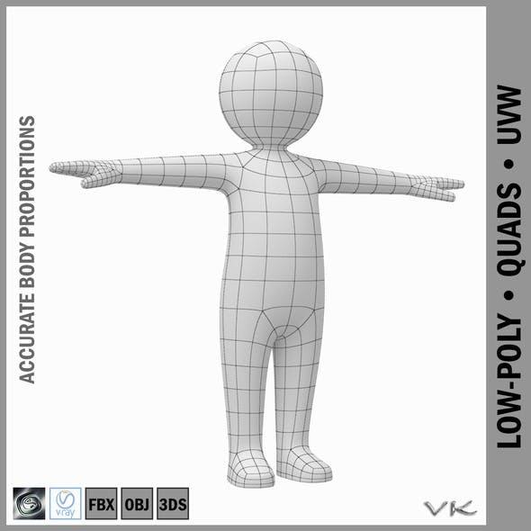 Toddler Stickman Character 3D