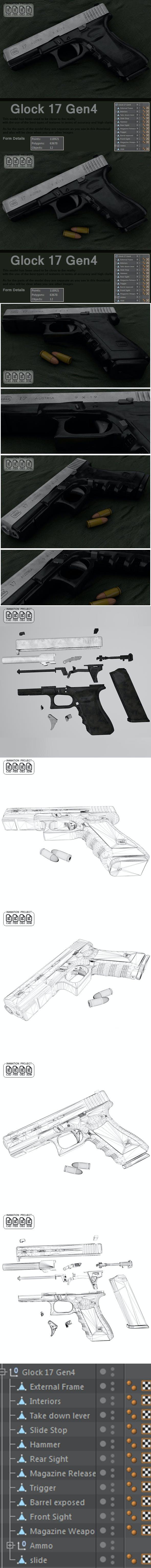 Glock 17 Gen 4 [ 3D MODEL ] Real by LaythJawad | 3DOcean