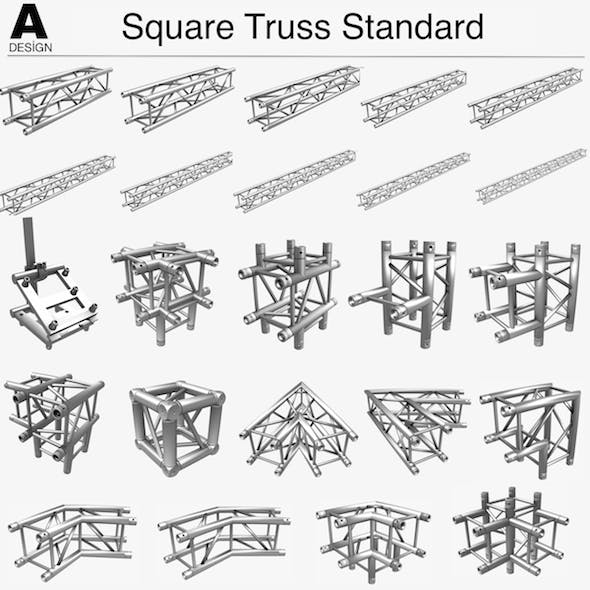 Square Truss Standard (Collection 24 Modular Pieces) - 3DOcean Item for Sale