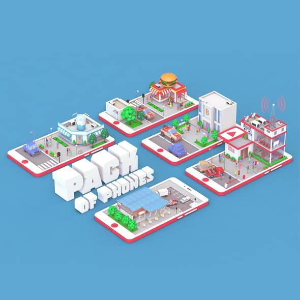 Low Poly Buildings on Mobile Phone - 3DOcean Item for Sale