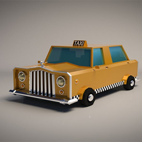 Low-Poly Cartoon Taxi Cab