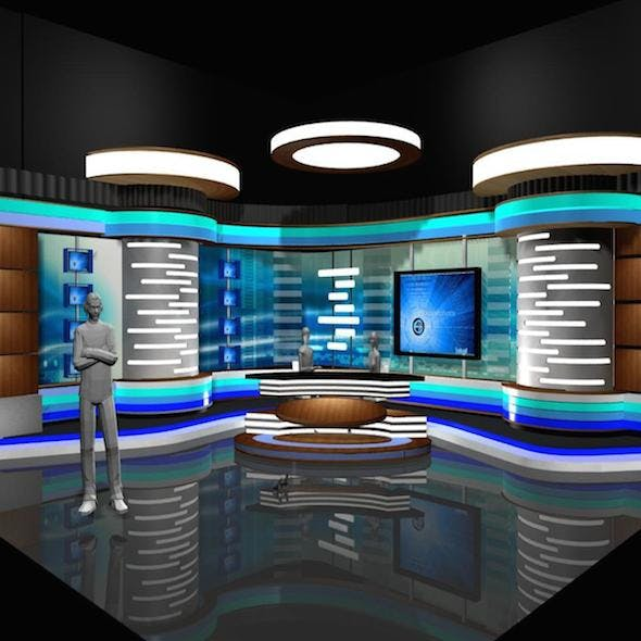 Virtual TV Studio News Set 2