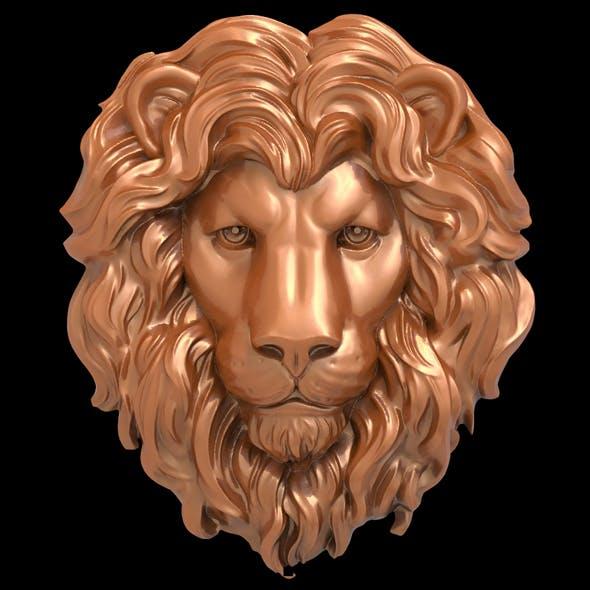 Lion head bas-relief 3D print model - 3DOcean Item for Sale