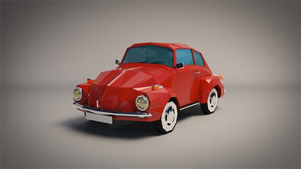 Low-Poly Cartoon VW Beetle - 3DOcean Item for Sale