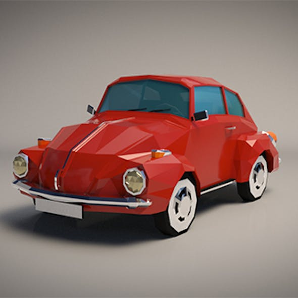Low-Poly Cartoon VW Beetle