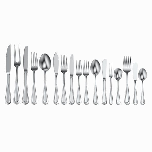 Table Cutlery 17 Items Set 3D Model