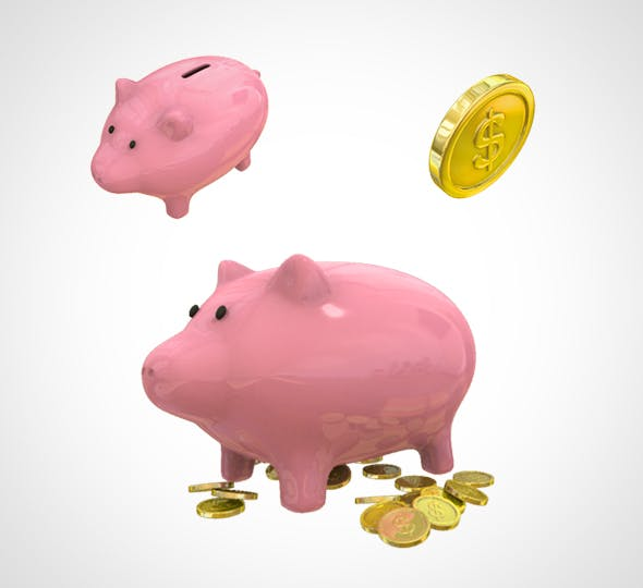 Piggy Bank and gold coins 001 - 3DOcean Item for Sale