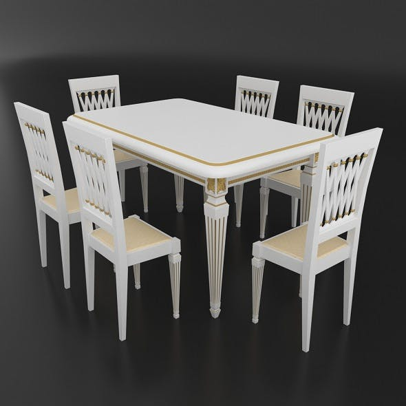 Dining set of classic Italian design consisting of a table and chairs Attimec Infinity - 3DOcean Item for Sale