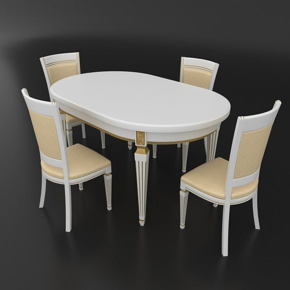 Dining set of classic Italian design consisting of a table and chairs Nike Avorio